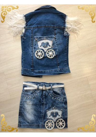 Carossel Jean Skirt with Vest