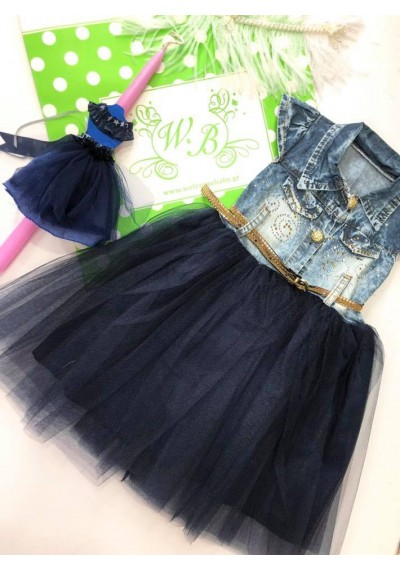 Marine Jean Tutu Dress with Easter CAndle