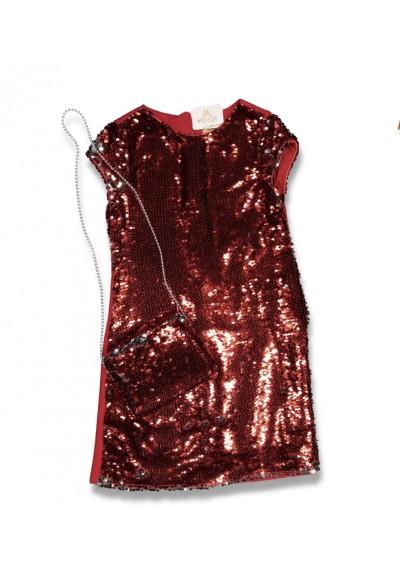 WB Sequin Dress με τσάντα για τα κορίτσια των Χριστουγέννων