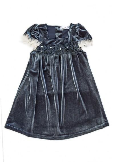 Mery Jane βελούδινο φόρεμα,σκούρο γκρι