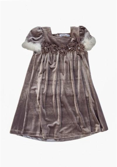 Mery Jane βελούδινο φόρεμα γκρί