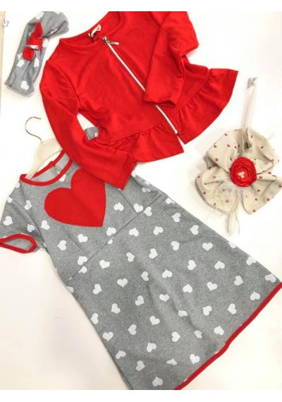 Little heart κορίτσι φόρεμα με σακάκι