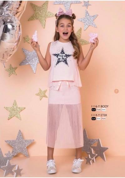 Little Star Σετ φούστα και μπλούζα με τη δαντέλα