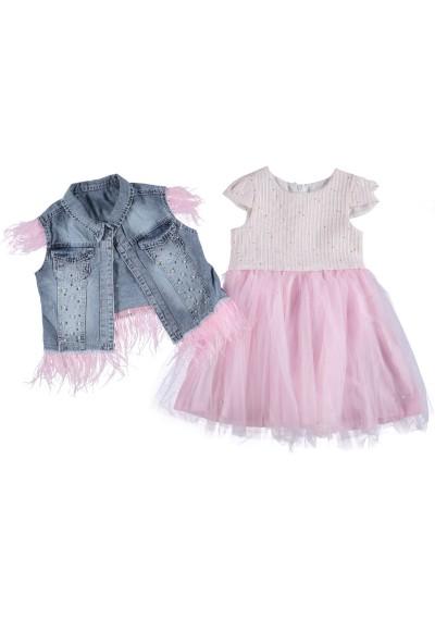 Shirly Φόρεμα Tutu & Jean Vest με φτερό