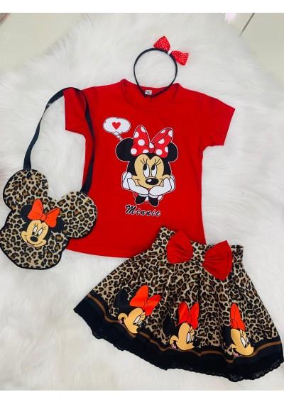 Minnie Leopard σετ με στεκα και τσαντα
