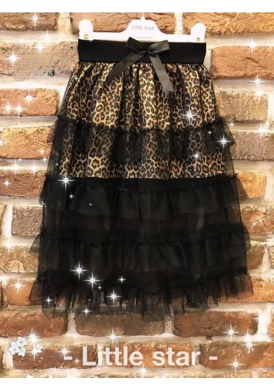 LT σατέν δαντέλα φούστα για κορίτσια με εκτύπωση λεοπάρ