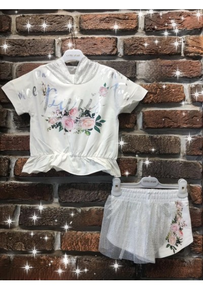 LT Los Angeles Collection Μπλούζα με κουκούλα και σορτς με τούλι
