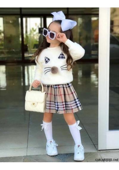 Sweet Cat Skirt Fur Blouse Set