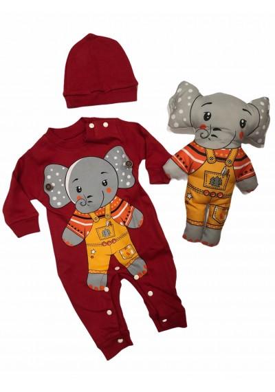 Elephant Κορμάκι % 100 βαμβάκι για μωρό με παιχνίδι