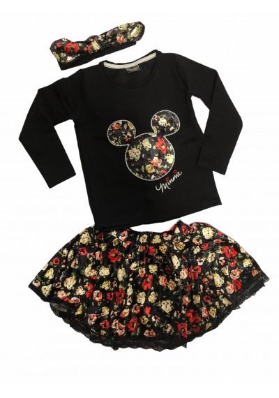 minnie Μπλούζα Βελούδο φούστα με κορδέλα