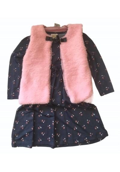 Φόρεμα με γούνινο γιλέκο