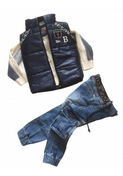 WB σετ 3 τεμ, πουλόβερ, γιλέκο και τζιν παντελόνι για αγόρια