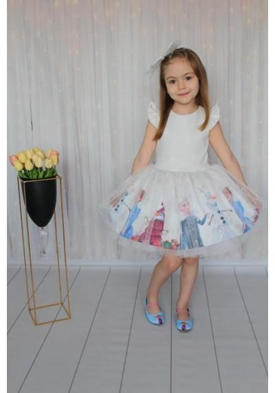 Frozen Luxury Λευκό Φόρεμα με τον Κορδελά και τον Κάλσον