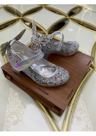 Butterfly κορίτσια Καλοκαιρινά Ασήμι παπούτσια με λάμψη