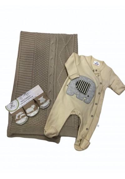 Οργανική μάλλινη κουβέρτα και φορμάκι, κάλτσες για νεογέννητα