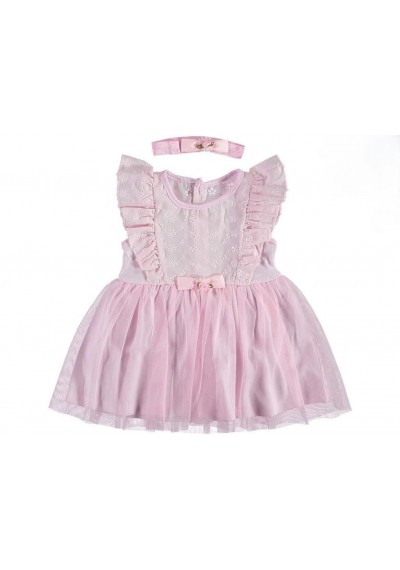 Baby Girl Embriodery Tulle Linen Dress