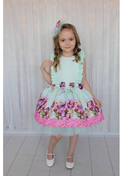 Flower Tutu Vintage Dress with HAirbow