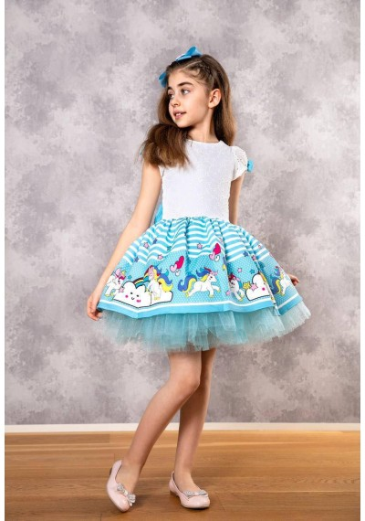 Unicorn Tutu Couture Dress with HAirbow