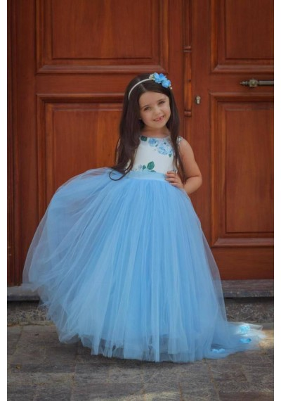 Long Blue Flower Petti Dress with Hairband