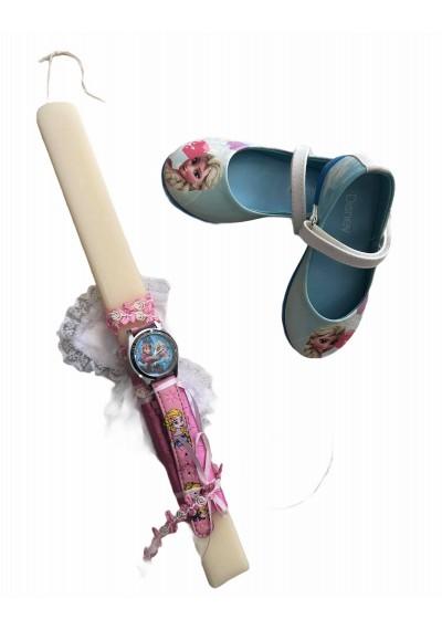 Frozen Παπούτσια και Λαμπαδα με ρολοι Frozen
