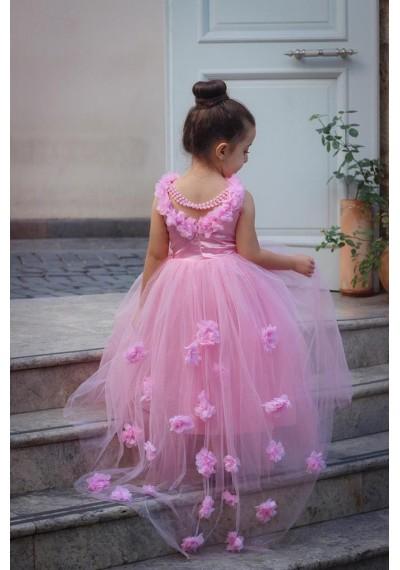 Daisy Μακρύ φόρεμα δαντέλα με λουλούδι
