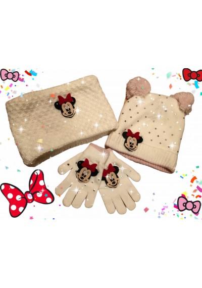 Minnie μαλλί καπέλο κασκόλ γάντια