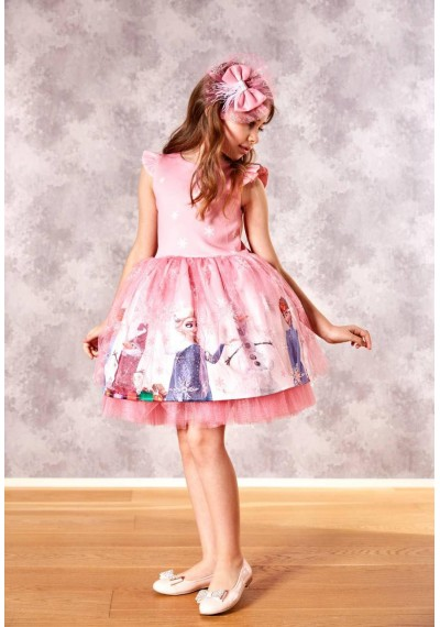 Frozen Luxury Ροζ Φόρεμα με τον Κορδελά και τον Κάλσον