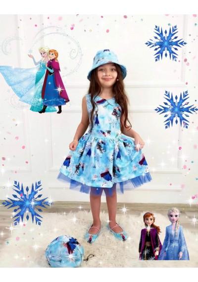 Frozen Φόρεμα με καπέλο και τσάντα