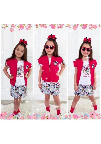 Minnie Βαμβακερή φούστα, μπλούζα και γιλέκο με κορδέλα .4 τεμάχια