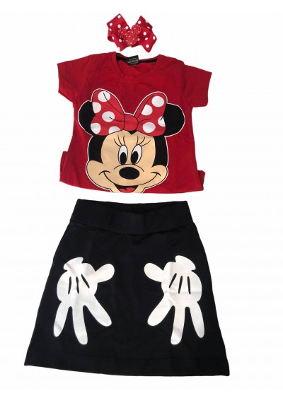 Minnie Βαμβακερή φούστα, μπλούζα  με κορδέλα 3 τεμάχια