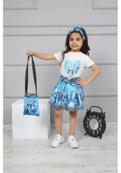 Frozen Φούστα, μπλούζα, τσάντα, Κορδελα