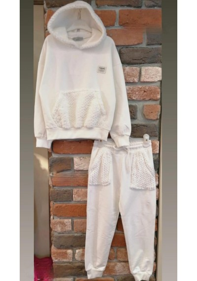 LT Hollywood Tracksuit with Fur White