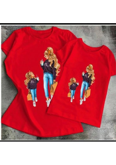 Mother&Girl Unique Red Tops