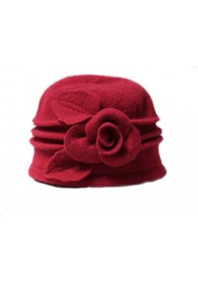 Λουλούδι % 100 μαλλί καπέλο